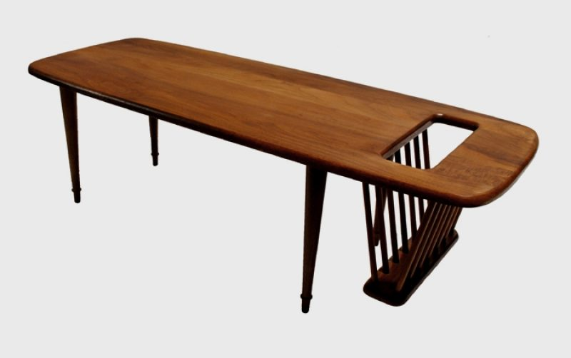 1960s Solid Walnut Magazine Coffee Table *Arthur Omanoff*
