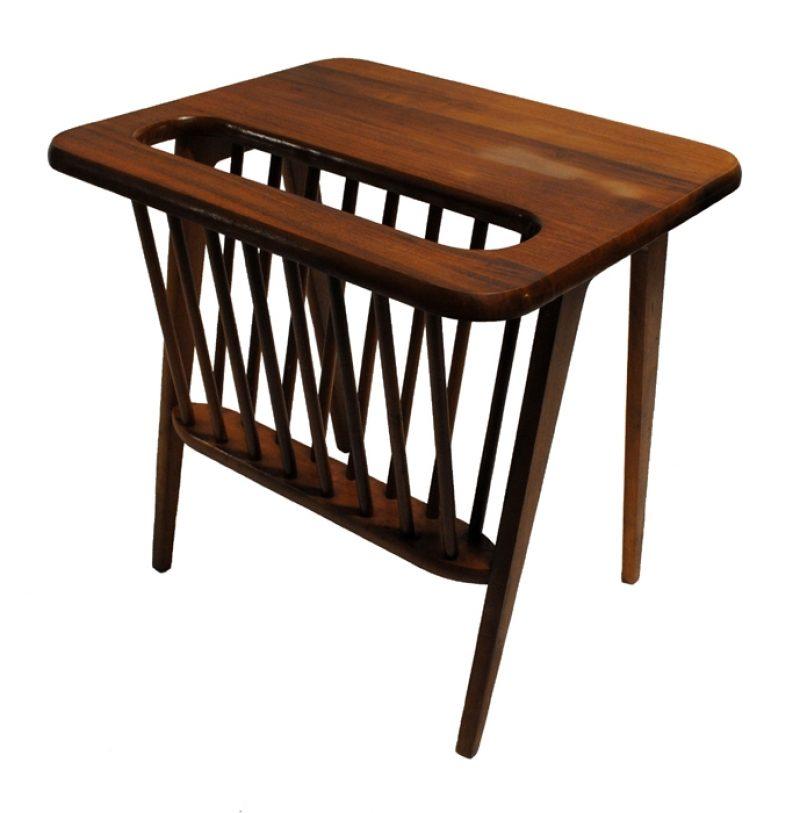 1960s Solid Walnut Magazine Side Table * Arthur Umanoff *
