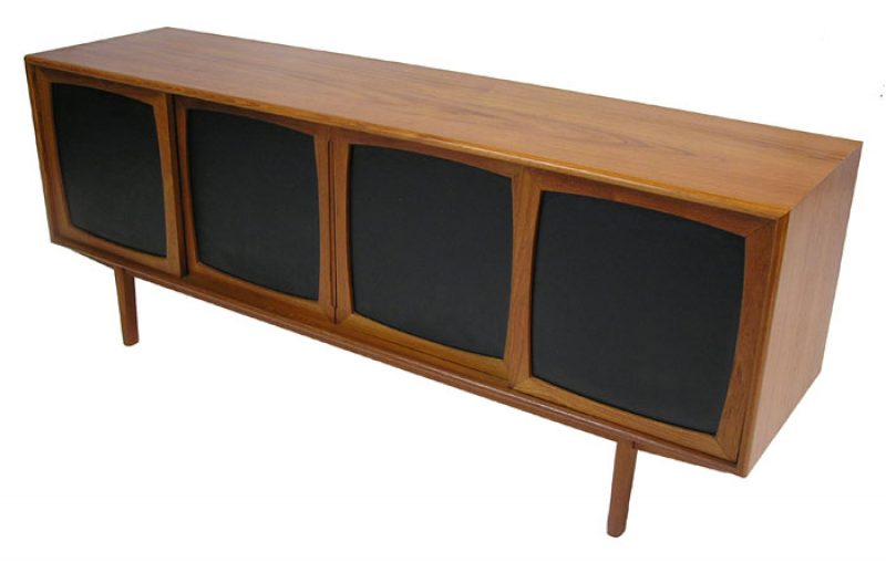 1970s Low Teak Sideboard w/Paneled Sliders
