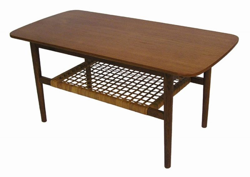 1950s Danish Teak Coffee Table w/Lower Rattan Shelf