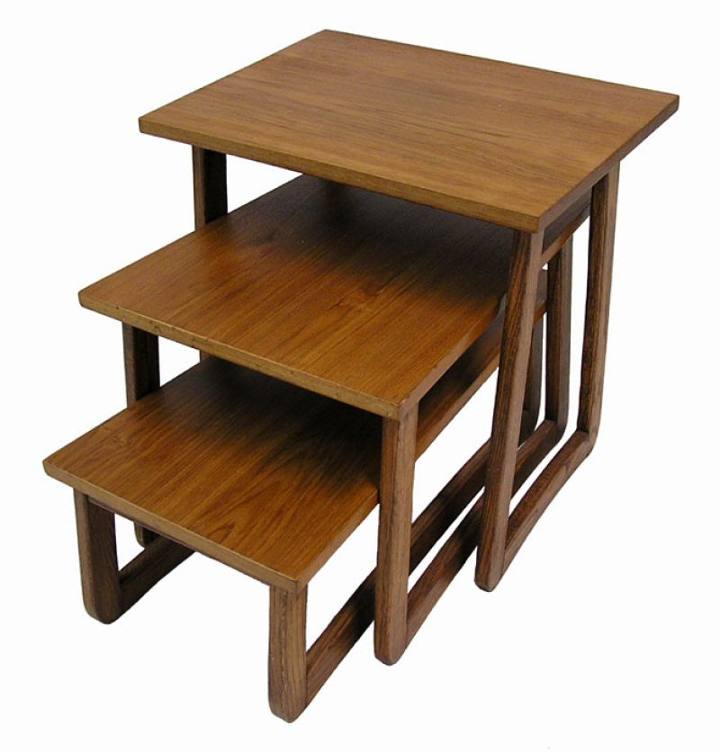Unique Handcrafted Teak & Oak Nesting Tables