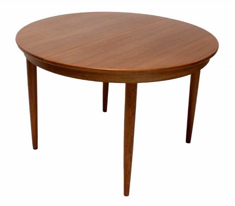 1960s Round Teak Dining Table w/2 Ext.  * Kai Kristiansen *