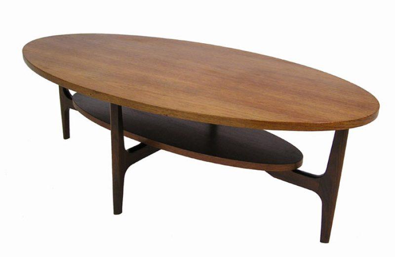 1960s Oval Teak Coffee Table w/Lower Shelf