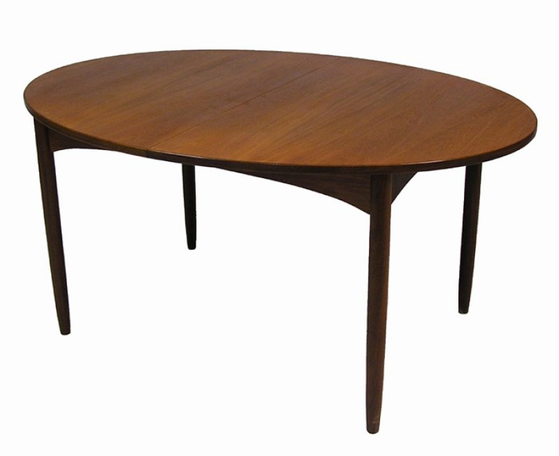 1960/70s Oval Teak Dining Table w/2 Ext.
