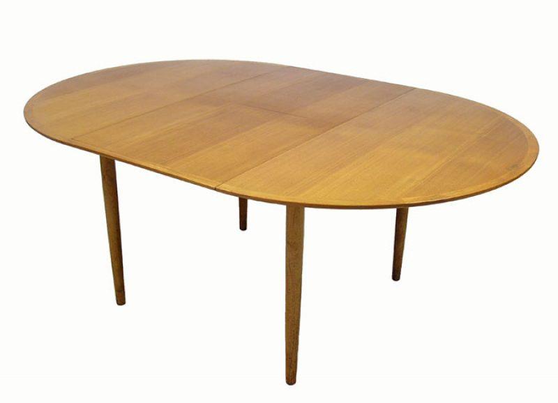 1960s Round Teak Dining Table W Jack Knife Leaf Hoopers