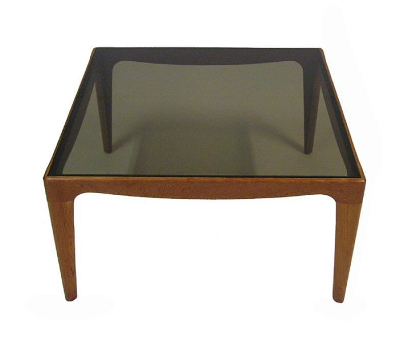 1960 70s Teak Smoked Glass Side Coffee Table Hoopers