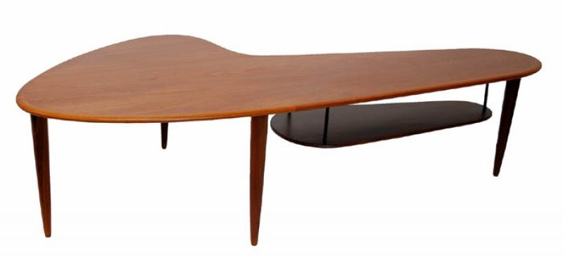 1960s Teak Boomerang Table w/Lower Shelf