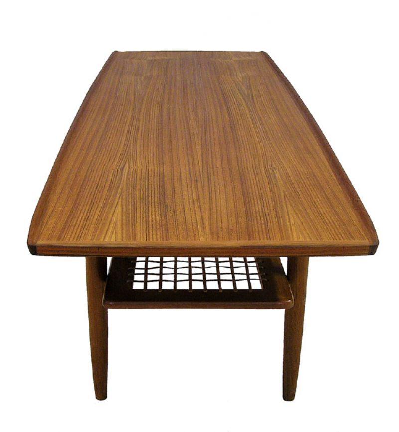 Teak Root Coffee Table Canada: 1960s Teak Coffee Table W/Lower Rattan Shelf