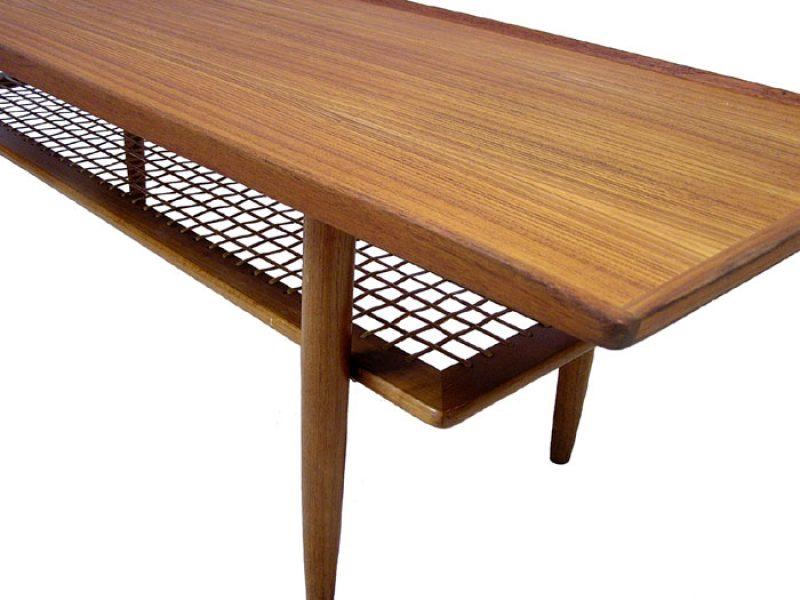 1960s Teak Coffee Table W Lower Rattan Shelf Hoopers Modern