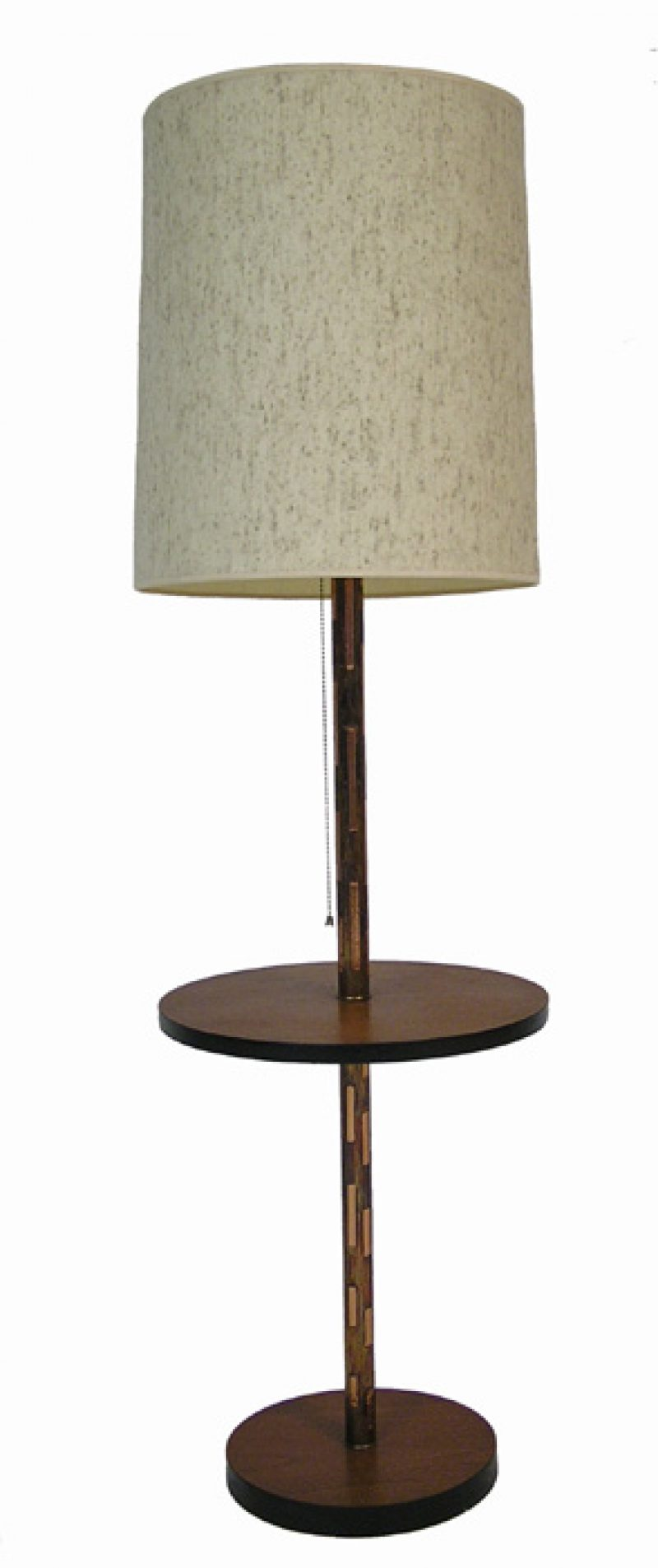 1960/70s Teak & Copper Floor Lamp w/Attached Table