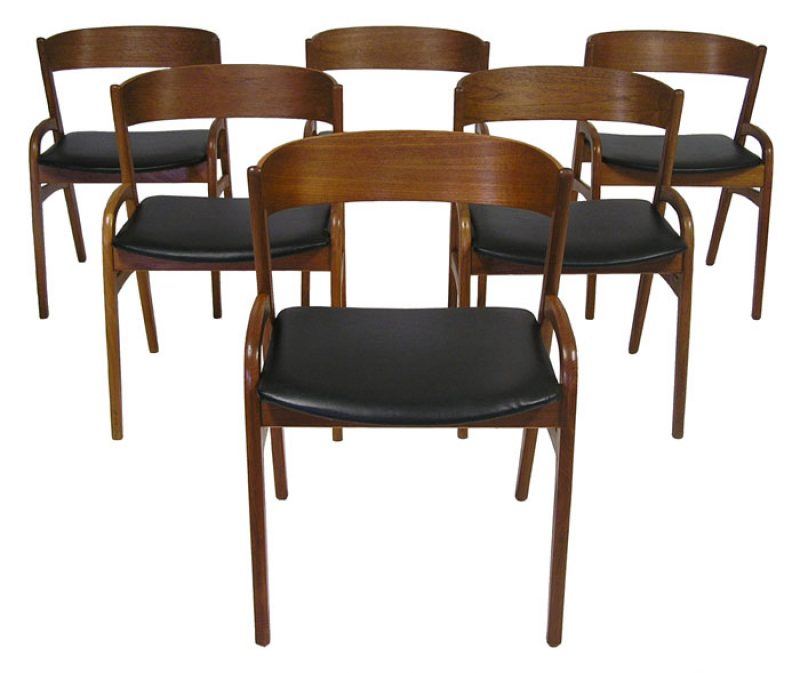 1950 60s danish teak dining chairs set of six hoopers for Designer chairs from the 60s