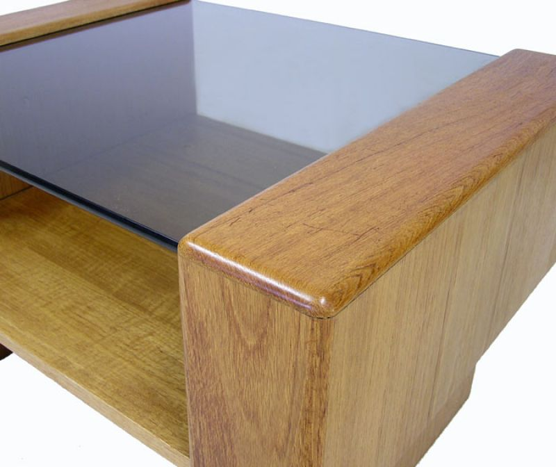 Teak End Table W/Glass Top *2 Available*
