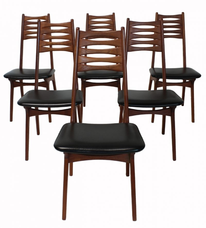 1960s Teak Ladder-Back Dining Chairs * Set of 6 *