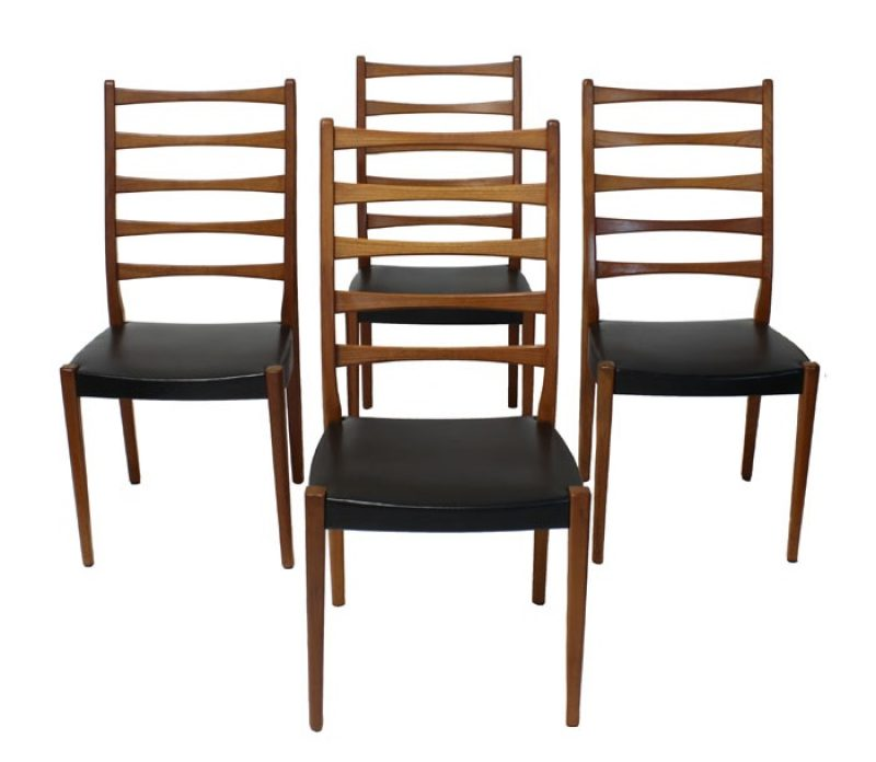 1960s Ladder Back Teak Dining Chairs * Svegards Markaryd *