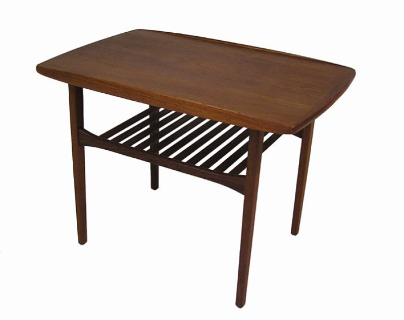 1960/70s Teak Side Table w/Lower Slat Shelf