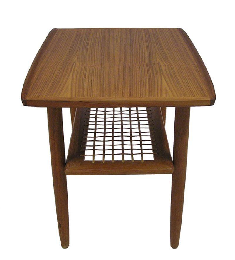 Teak Root Coffee Table Canada: 1960s Teak End Tables W/Lower Rattan Shelf