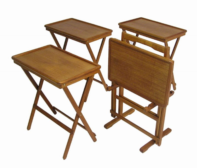 Vintage Teak TV Tray Tables And Stand