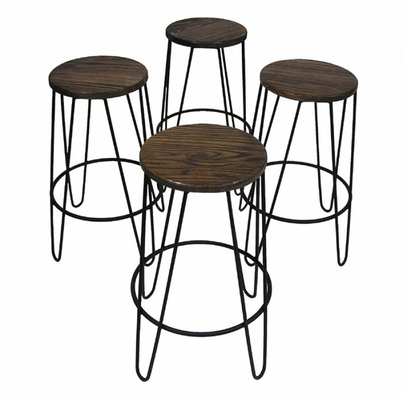 Backless Walnut & Metal Counter Stools