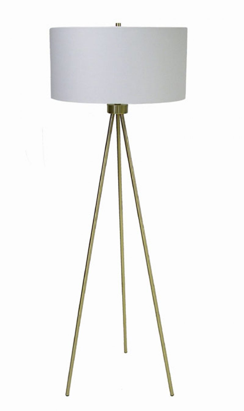 Tripod Floor Lamp w/Antique Brass Finish