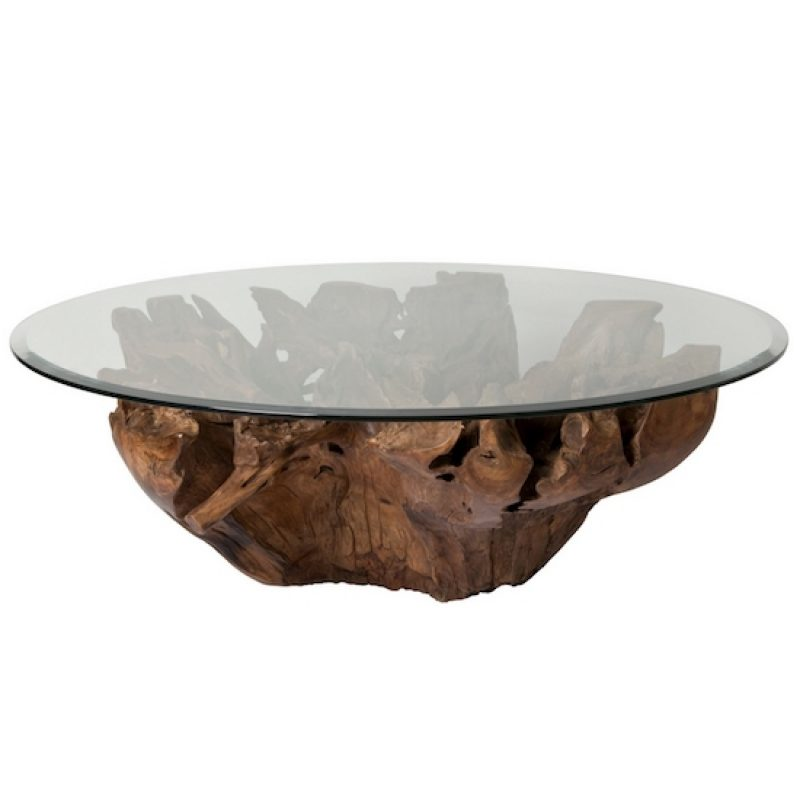 Teak Root Coffee Table W/Beveled Glass Top