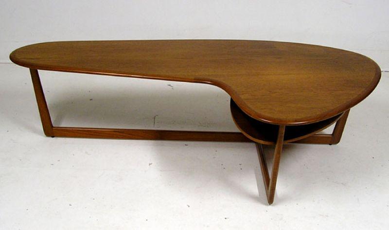 1960 70s Teak Boomerang Coffee Table Hoopers Modern