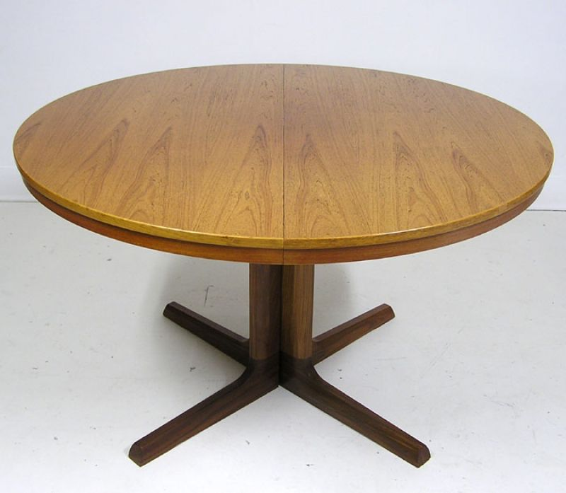 Round Danish Teak Dining Table W Leaves Hoopers Modern - Round dining table with 2 leaves