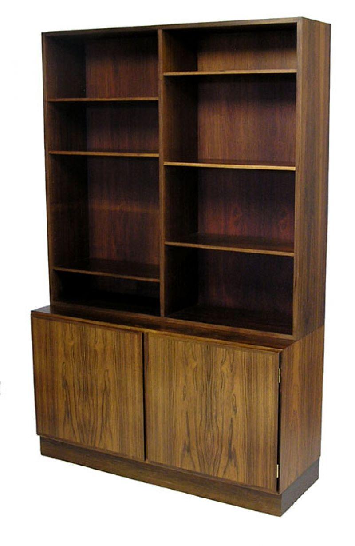 1960s Danish Rosewood Bookshelf Cabinet Omann Jun