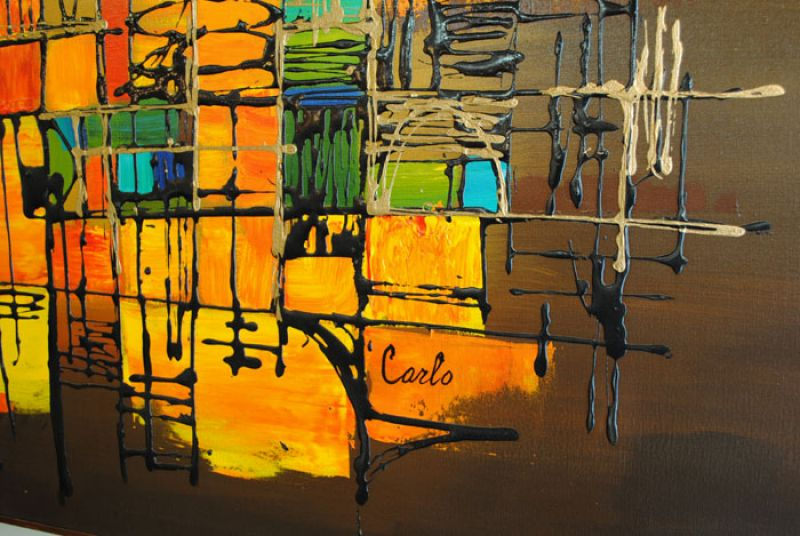 1970s Abstract Oil Painting Carlo Of Hollywood Hoopers