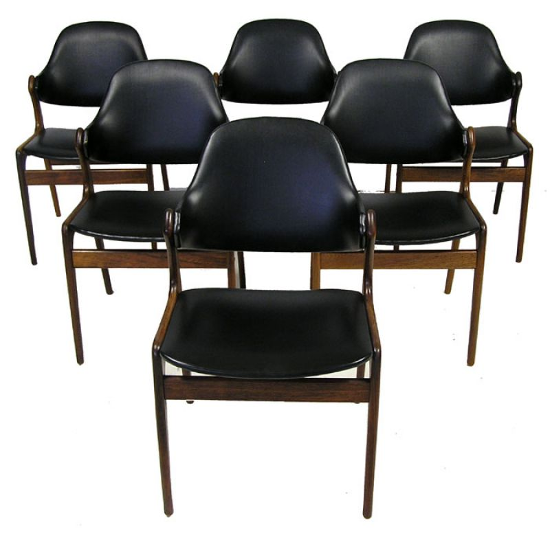 1950 60s danish rosewood dining chairs arne hovmand olsen for Designer chairs from the 60s