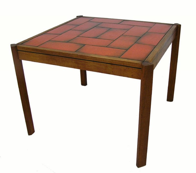 1960s Square Teak End Table w/Tile Top