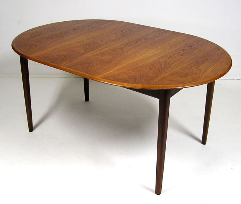 1960's Danish Teak Oval Dining Table w/Butterfly Leaf