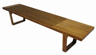 1950s Slatted Solid Beech Bench