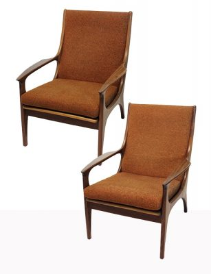 1960s Afromosia Teak Lounge Chairs * R. Huber *