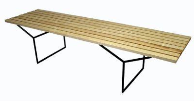 "Ash & Metal ""Bertoia"" Style Slat Bench"