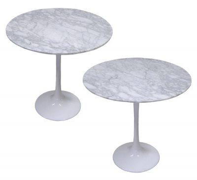 Barbell Side Table w/Cararra Marbel Top