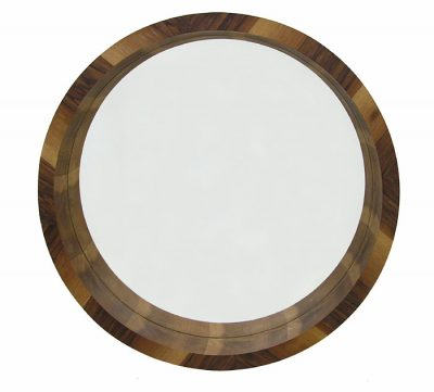 Large Round Walnut Wall Mirror