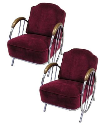 1940s Art Deco Chrome Club Chairs *2 Available*