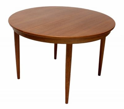 1960s Round Teak Dining Table w/2 Ext.  * Kai Kristiansen *