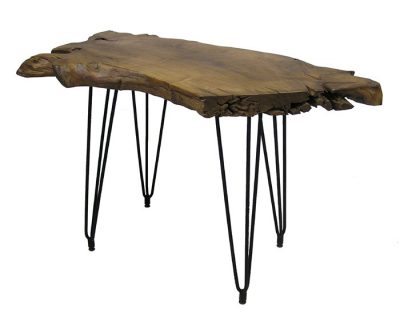 Teak Root Console Table w/Hairpin Legs