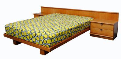 Teak Queen Size Platform Bed w/Night Tables