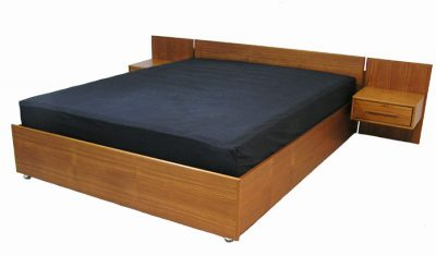 1970s Queen Size Teak Platform Bed w/Night Tables