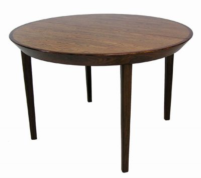 1960s Round Danish Rosewood Dining Table w/2 Ext.