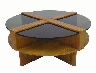 Round Teak Coffee Table w/Glass Top