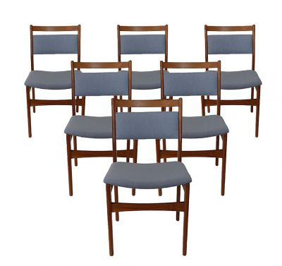 1970s Teak Dining Chairs * Set of Six *