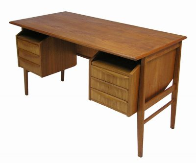 1960s Small Danish Teak Desk w/Reverse Storage