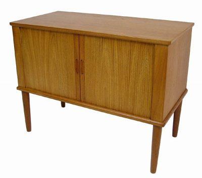 1960s Small Teak Record Cabinet w/Tambour Doors