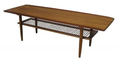 1960s Teak Coffee Table w/Lower Rattan Shelf