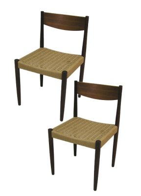1960s Danish Teak Dining Chairs w/Cord Seats *2 Available*