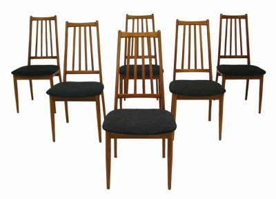 1960/70s Teak High Back Dining Chairs *Set of Six*