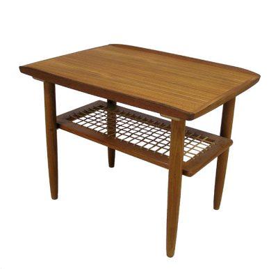 1960s Teak End Tables w/Lower Rattan Shelf